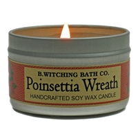 Poinsettia Wreath Tin Candle